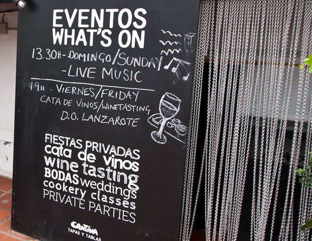 cantina teguise events signage